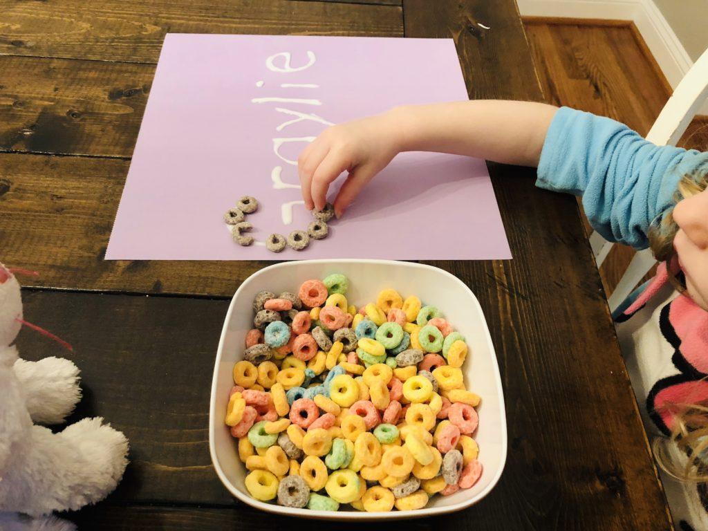 Preschool Name Activity using fruit loops