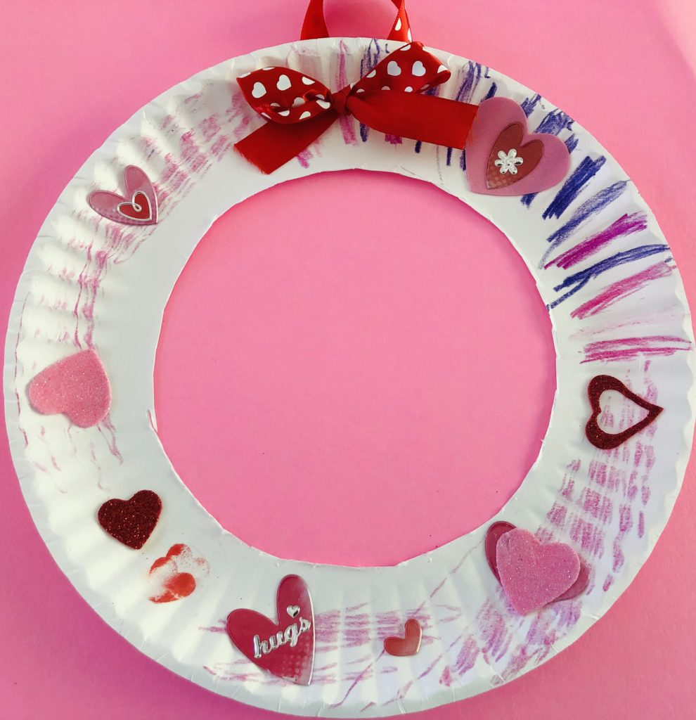 Valentine Heart Paper Plate Wreath Craft