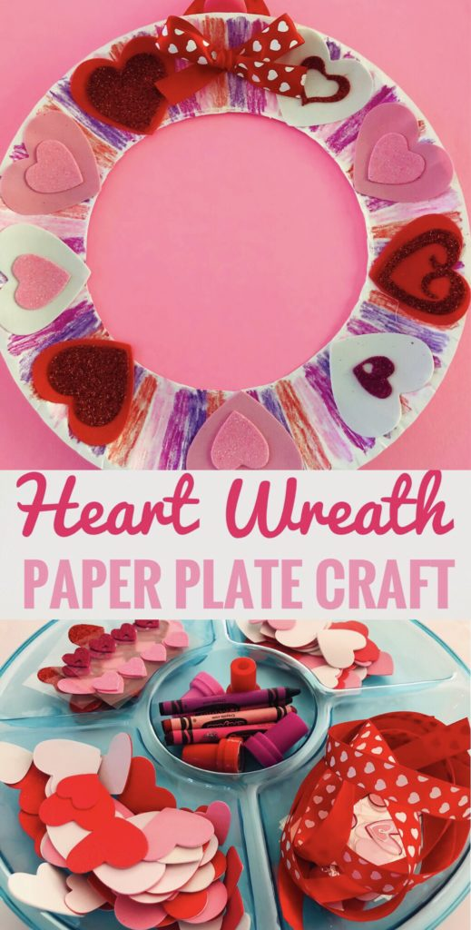 Valentine Heart Paper Plate Wreath Craft - Perfect for class parties and play dates!