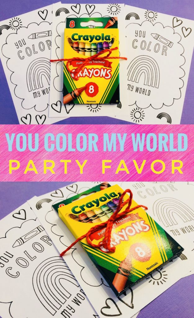 You Color My World Party Favor - includes hand stamped coloring page and crayons! Great idea for Valentine's Day or an Art or Rainbow Party!