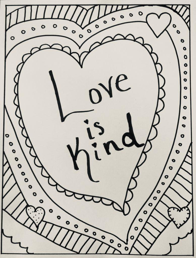 Love Is Kind Free Printable Coloring Sheet