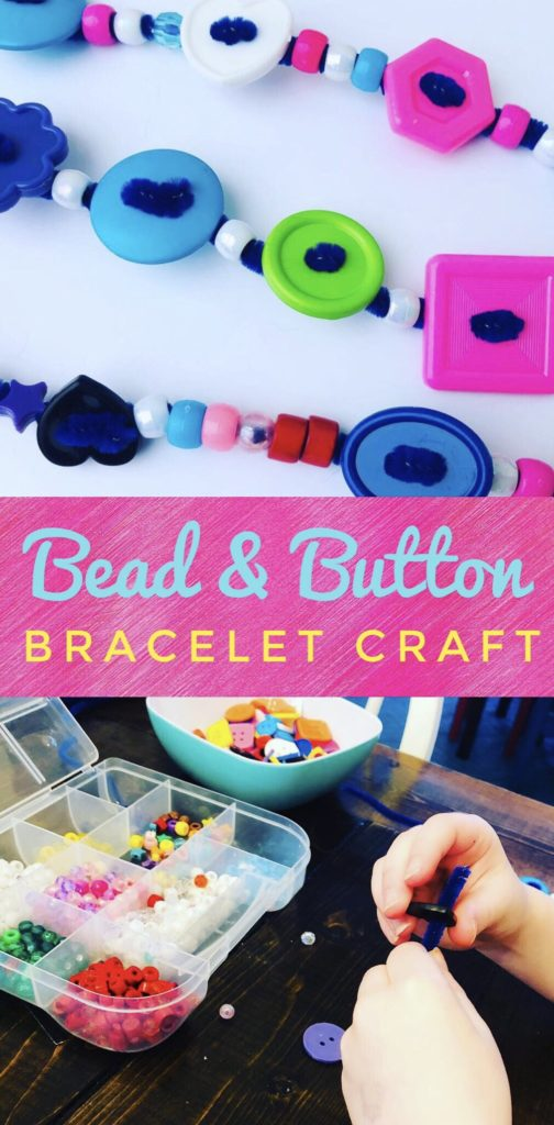 Bead and Button Pipe Cleaner Bracelet Craft - great for fine motor skills! I love the fun vibrant colors and chunky design of this bracelet craft.