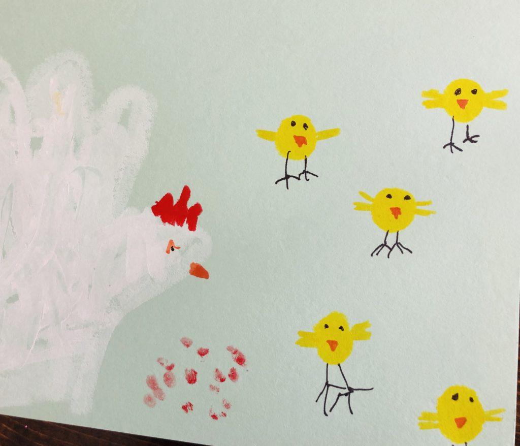 Hand Chicken Craft with Kwik Stix Paint
