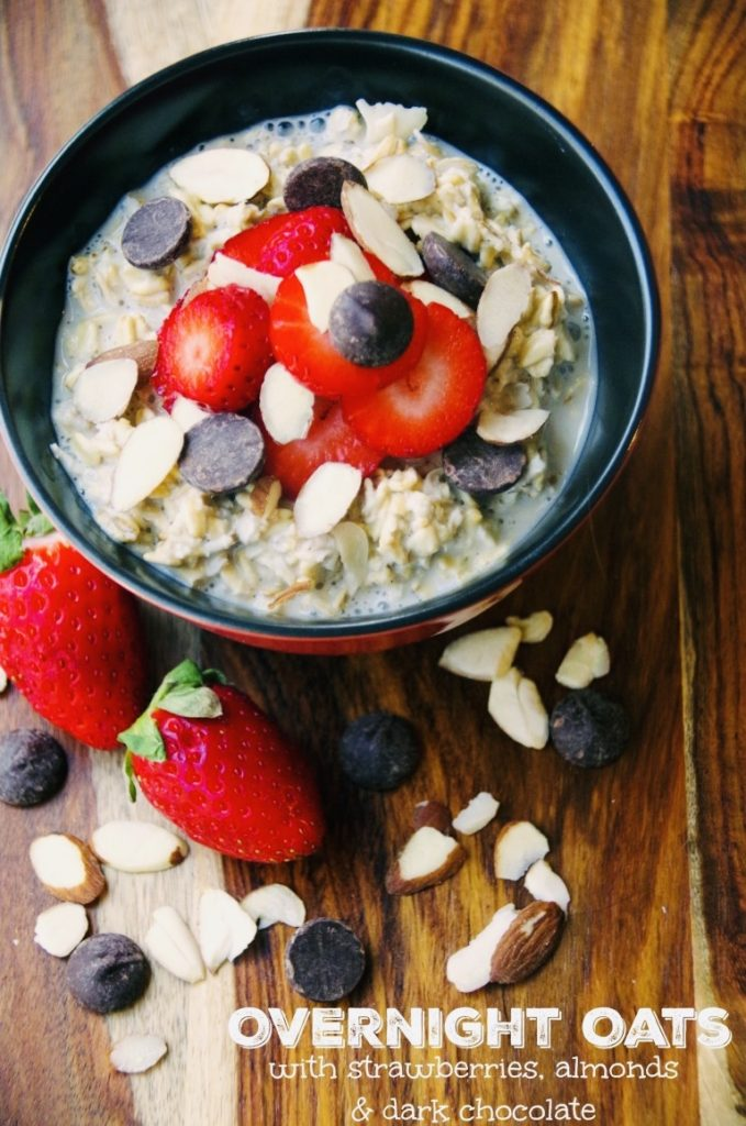 Overnight Oats with Strawberries, Almonds, and  Dark Chocolate