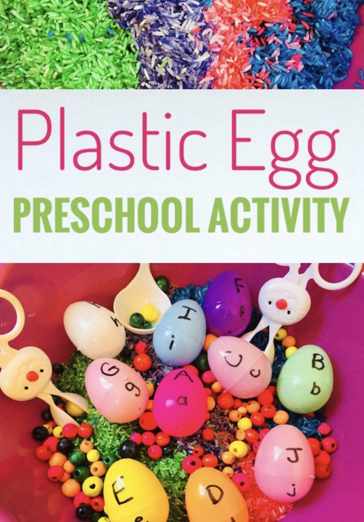 Plastic Egg Preschool Activity - Use the plastic eggs for a letter matching activity for Easter. Bin uses plastic eggs, wooden beads, bunny tongs, and rainbow rice. I purchased the tub at Dollar Tree.