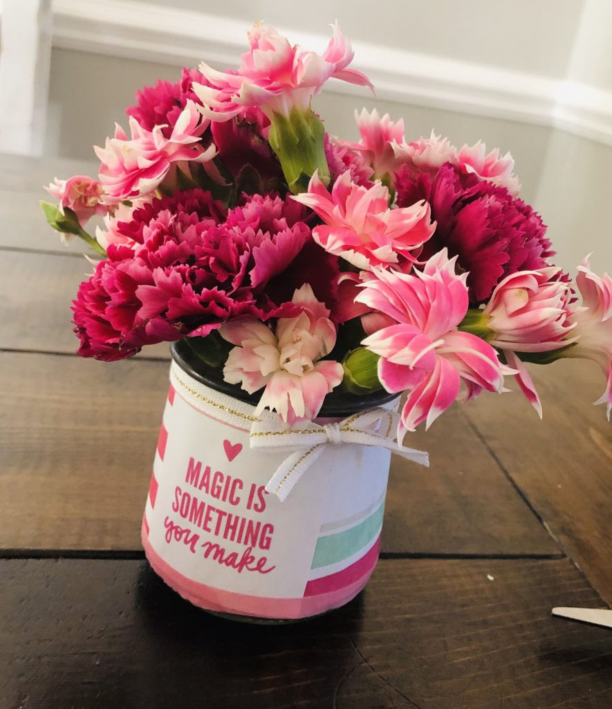 Repurposed Oui Yogurt Jar Flower Vase