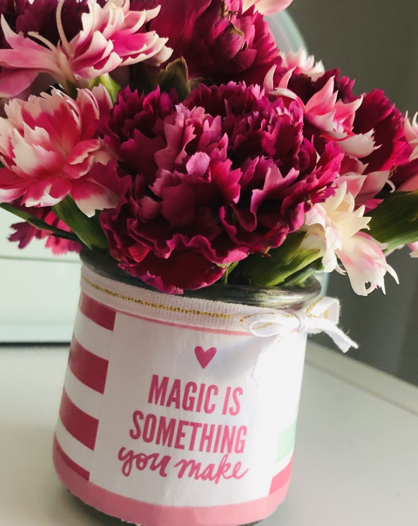 Repurposed Yogurt Jar Flower Vase