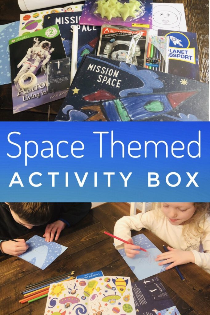 Space Themed Activity Box for Kids - full of activities around a space theme.
