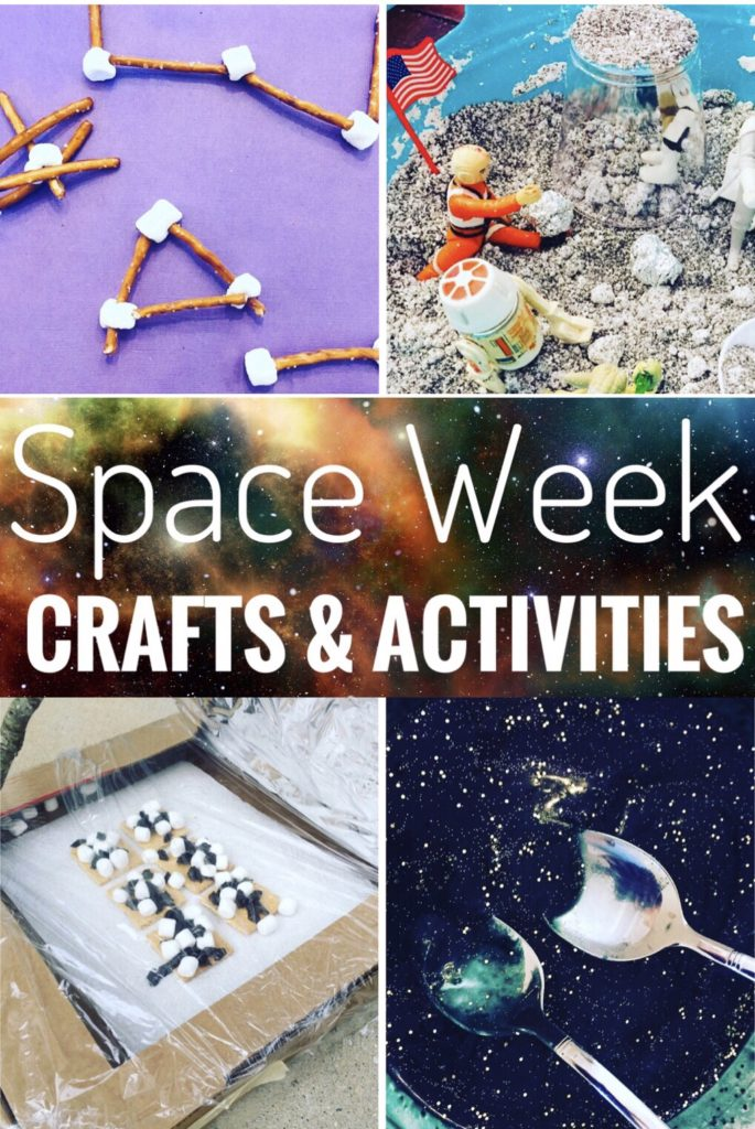 Space Week Crafts and Activities - Kids will love these space themed ideas like solar oven smores, edible constellations, moon sand, science experiments and more!