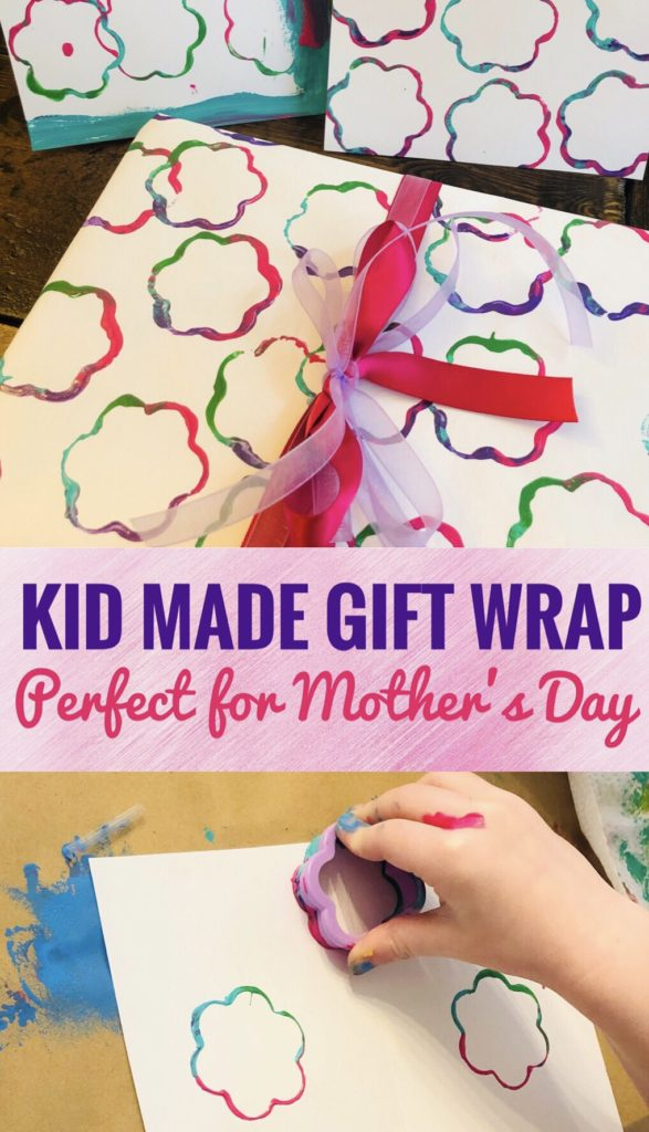 DIY Kid Made Gift Wrap - Create cute flower prints with cookie cutter. Perfect craft for preschoolers to help make gift wrap for Mother's Day or Teacher Appreciation Day!