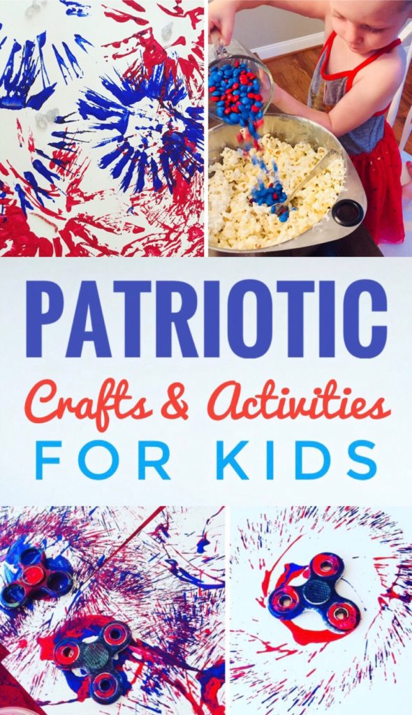 Fun Patriotic Crafts and Activities for Kids - kids will love making this popcorn cake and doing fireworks painting!