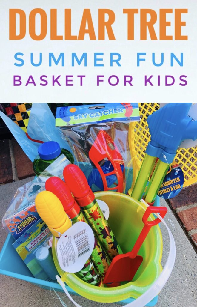 DIY Summer Fun Baskets from Dollar Tree - fun way to kick off summer and keep the kids entertained!