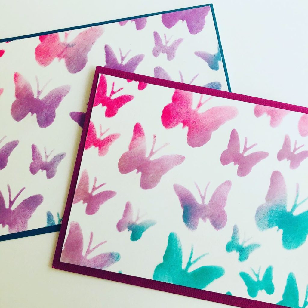 Stenciled Butterfly Notecards