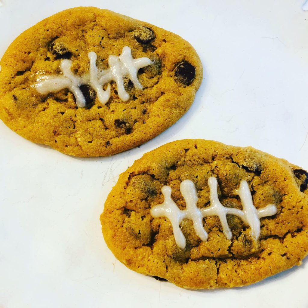 football chocolate chip cookies