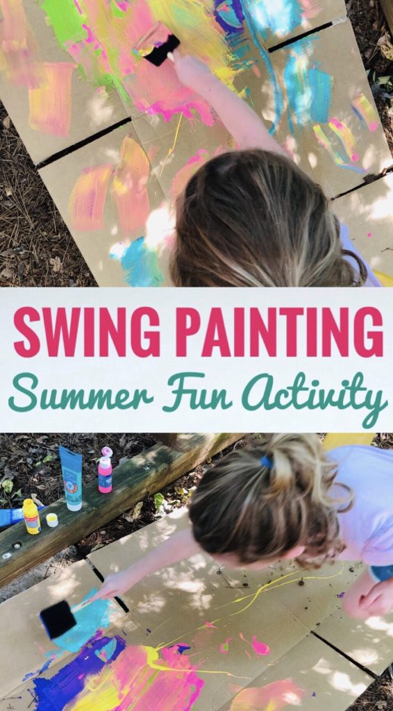 Swing Painting Process Art Activity for Kids - Great Summer Project