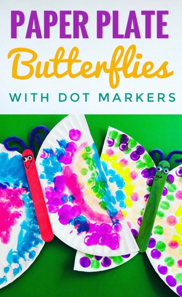 Dot Marker Paper Plate Butterfly Craft - such a simple and colorful craft to make with the kids this summer!