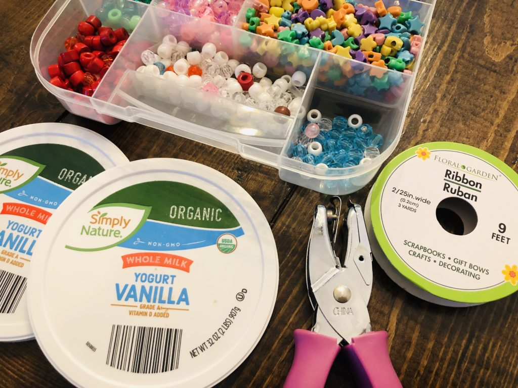 Crafting supplies for butterfly feeder craft
