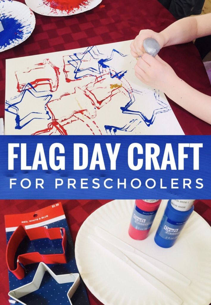 Patriotic Cookie Cutter Painting - great flag day craft for preschoolers.