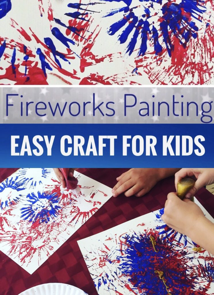 Easy Fireworks Painting Craft for kids using cardboard tubes and glitter glue. Perfect art project for the 4th of July. Great craft for preschoolers and toddlers.