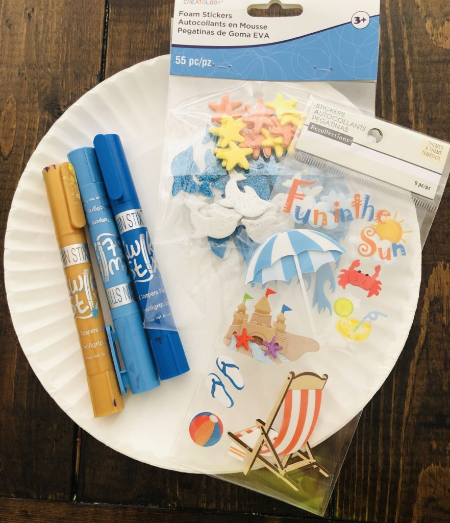 Paper Plate Craft Supplies - kwik stix paint and beach stickers.