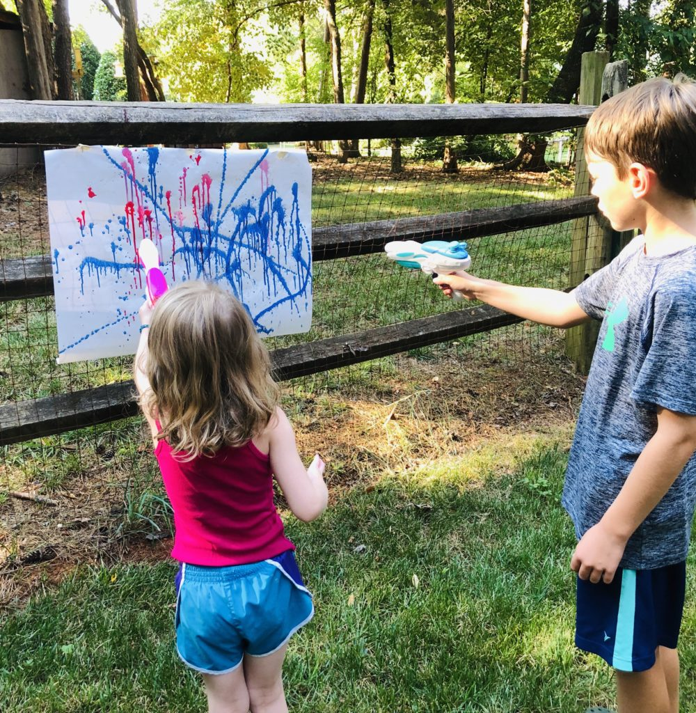 Water Squirter Painting - outdoor art idea