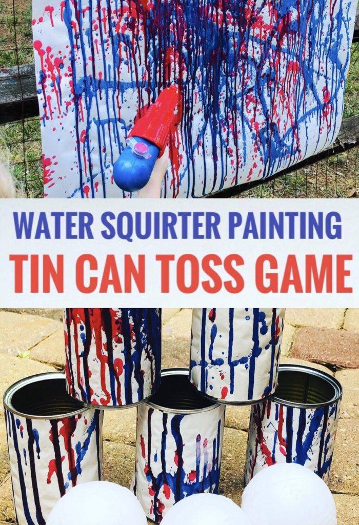 Water Squirt Painting and Tin Can Toss Game - Fun Way to Use Kids Artwork and Paint and Play Outside!