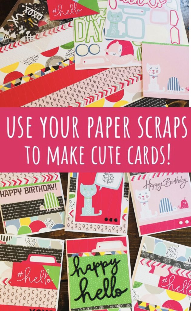 Use Your Paper Scraps to Make Cute Cards! Learn how to use leftover pieces from scrapbooking cards to make cards with the coordinating products. Great way to use up all those pretty papers!