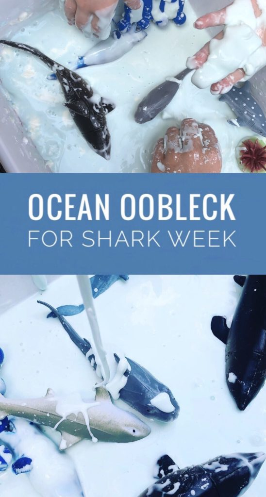 Make Ocean Oobleck for a fun Shark Week activity! It is really easy to make and only requires a couple of ingredients. The kids will love this sensory play!