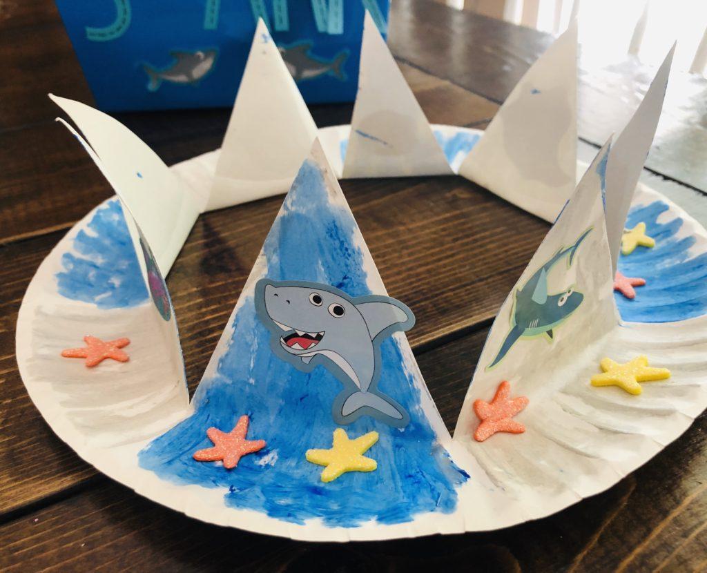 Shark Paper Plate Crown Craft