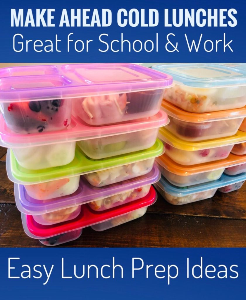 Make Ahead Cold Lunches for school or work! These are all super easy lunch prep ideas and will help you save time and money each week!