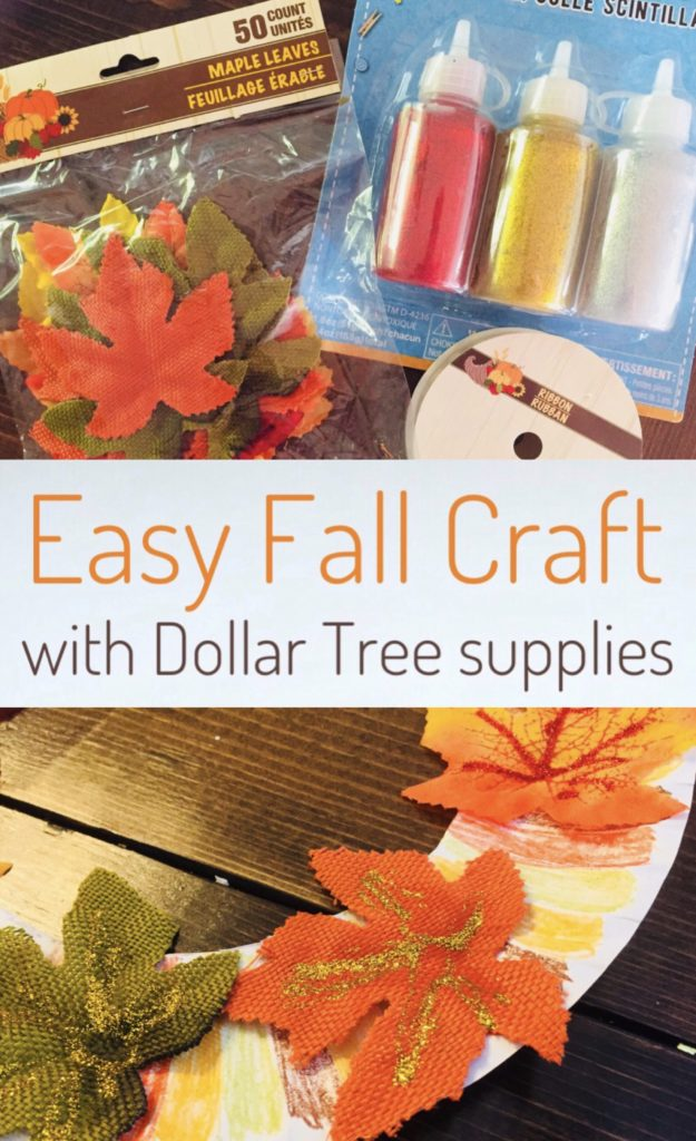Fall Paper Plate Craft using leaves