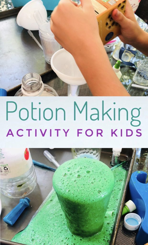 Kids will love making potions with their friends during this fun science activity! Having a potions party is fun and messy play!