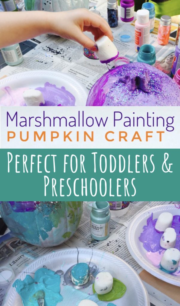 Marshmallow Painting Pumpkin Craft - great for toddlers and preschoolers!
