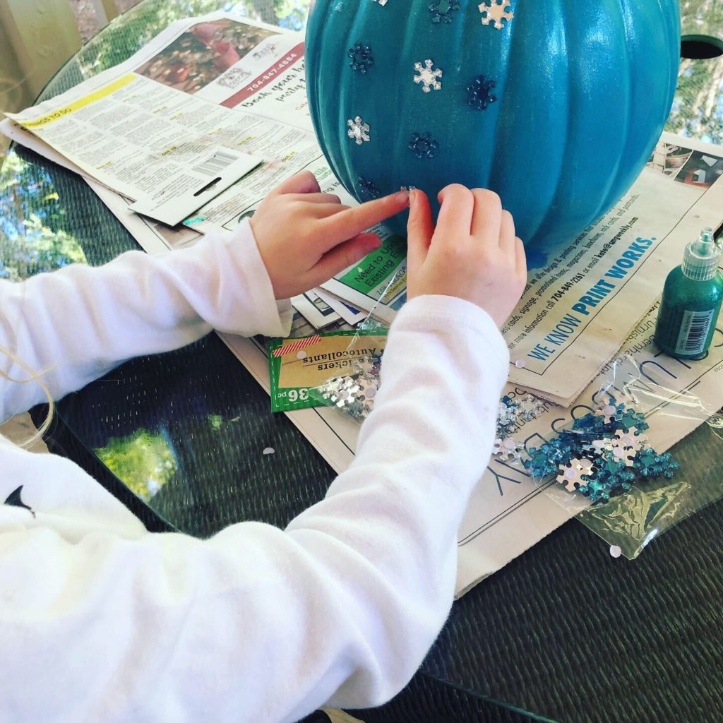 Applying the snowflake stickers