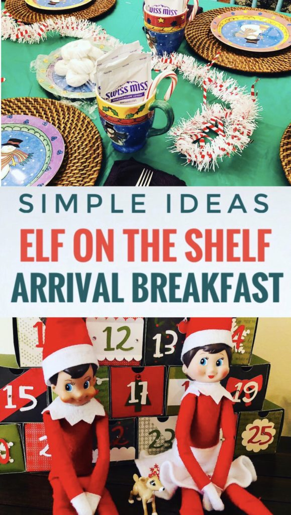Start a fun tradition by creating a simple elf on the shelf arrival breakfast! The elves make their return by bringing powered donuts and hot chocolate! Simple decorations from Dollar Tree!