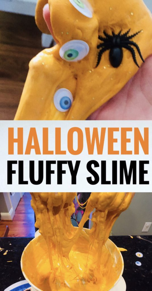 Fluffy Orange Halloween Slime is a fun craft to make with kids! This is an easy slime recipe and the googly eyes and spiders make it fun and spooky!