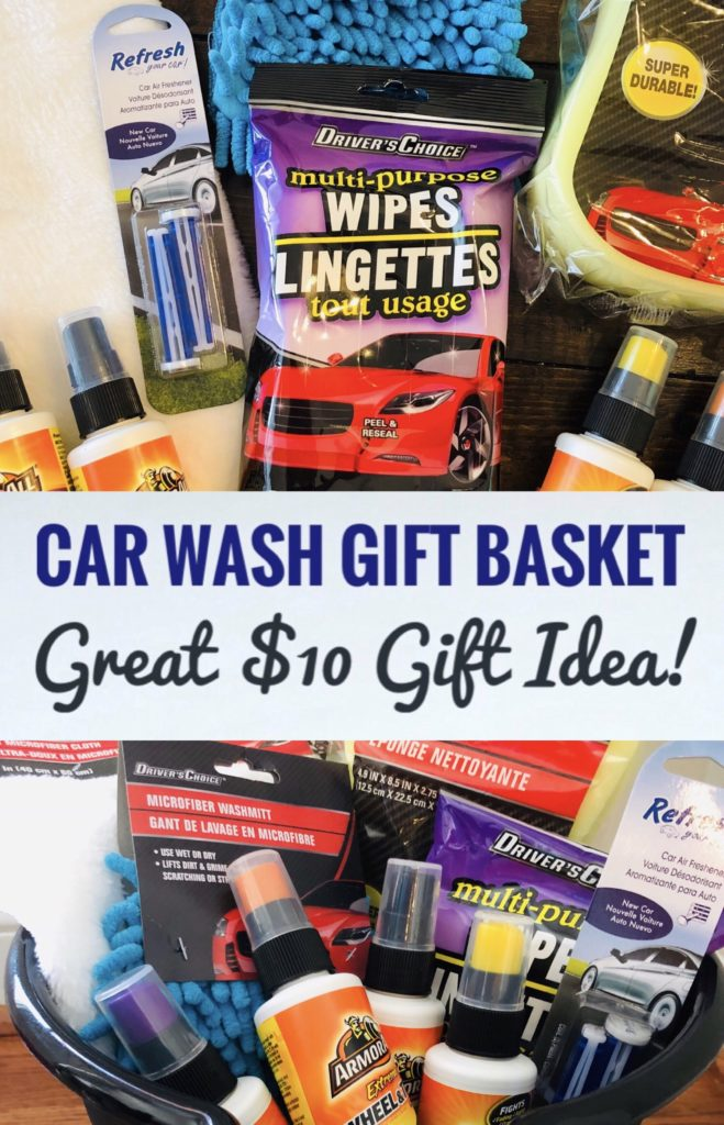 This Dollar Tree Car Wash Gift Basket is a great gift idea for men or teenage boys. It's also perfect for a raffle prize or secret santa gift!