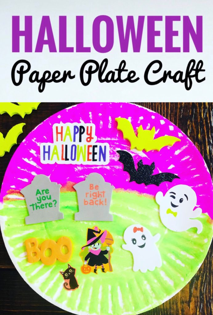 Kids will have fun making a cute Paper Plate Halloween Craft with kwik stix paint and foam stickers. It's a great mess free craft and perfect for parties!