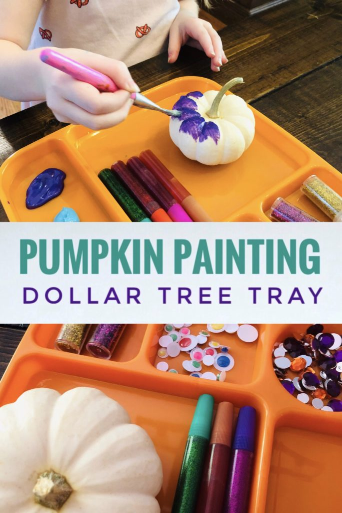Create a Pumpking Painting Tray from a Dollar Tree lunch tray this fall. It works great for painting little pumpkins with kids.