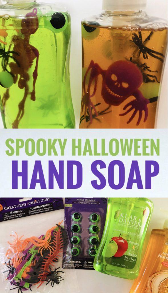 DIY Spooky Halloween Hand Soap using dollar tree supplies.