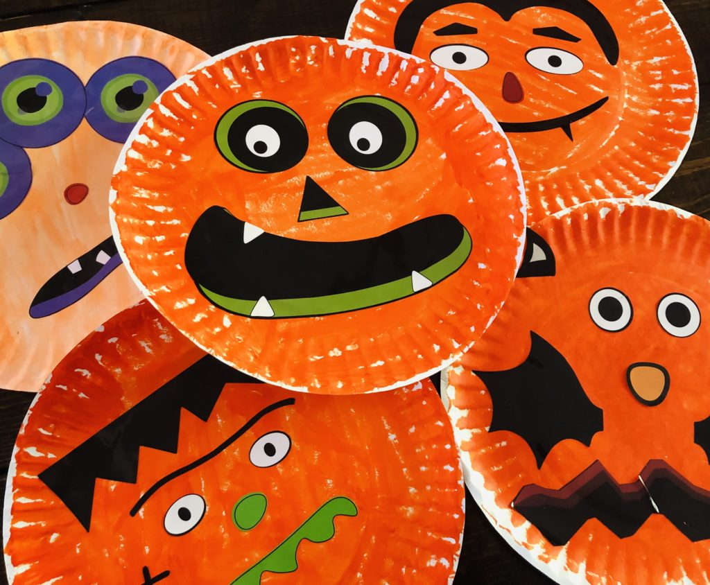 Paper Plate Jack-O-Lanterns used for Balloon Tennis