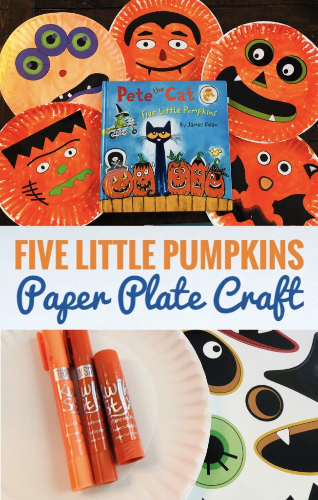 Check out this fun paper plate craft to go along with Pete the Cat's Five Little Pumpkins book. It's really cute and easy to create.