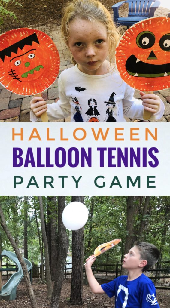 Make your own rackets for this fun Halloween Balloon Tennis Party Game! The kids will have a blast hitting around the ghost balloon!