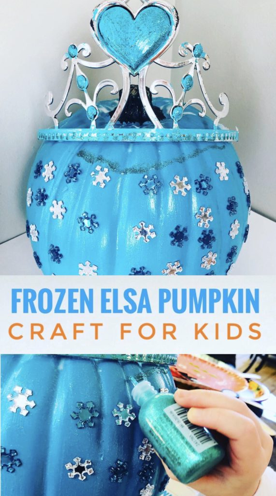 Create this no carve Frozen Elsa Pumpkin Craft for kids with your little Frozen lover! It is easy to create with a teal craft pumpkin!