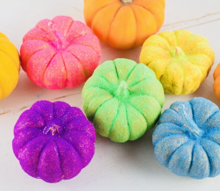 Rainbow Glitter Pumpkins