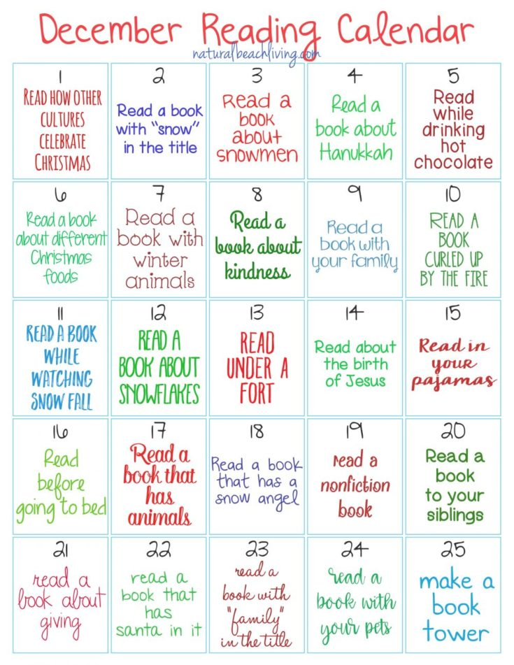Christmas Reading Challenge for Kids - Natural Beach Living
