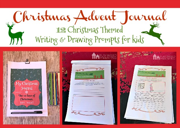 Christmas Advent journal for kids. 12 days of Writing and Drawing prompts.