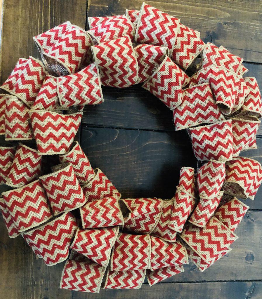 Red Chevron Burlap Wreath