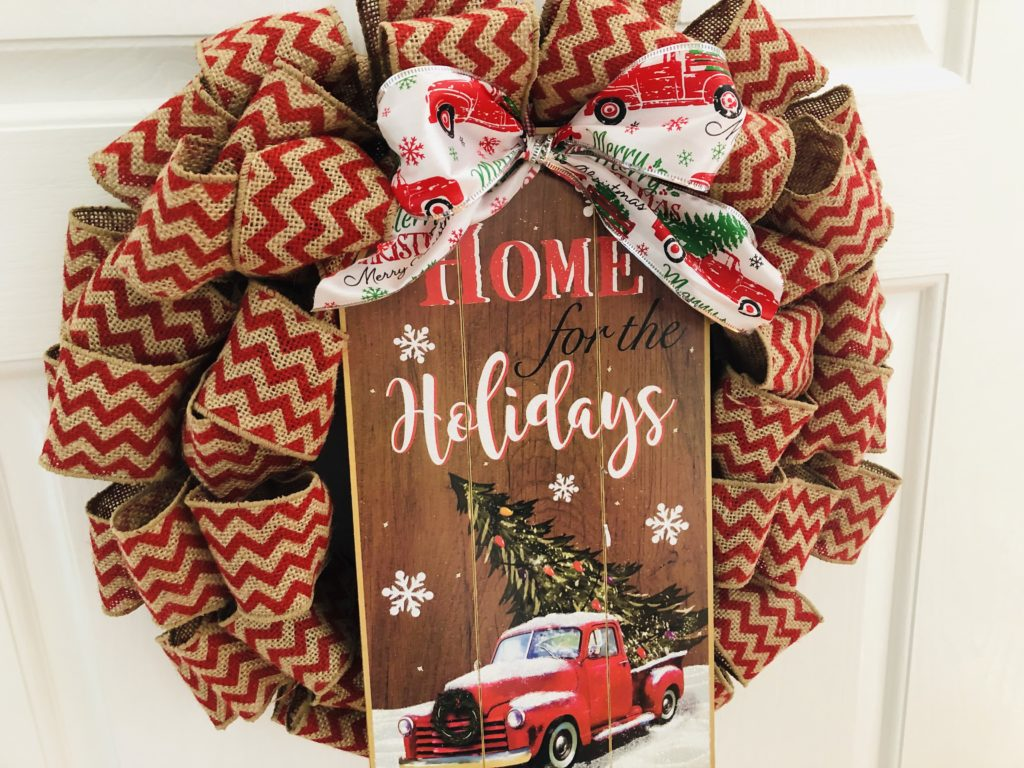 Chevron Burlap Christmas Wreath with Dollar Tree Sign
