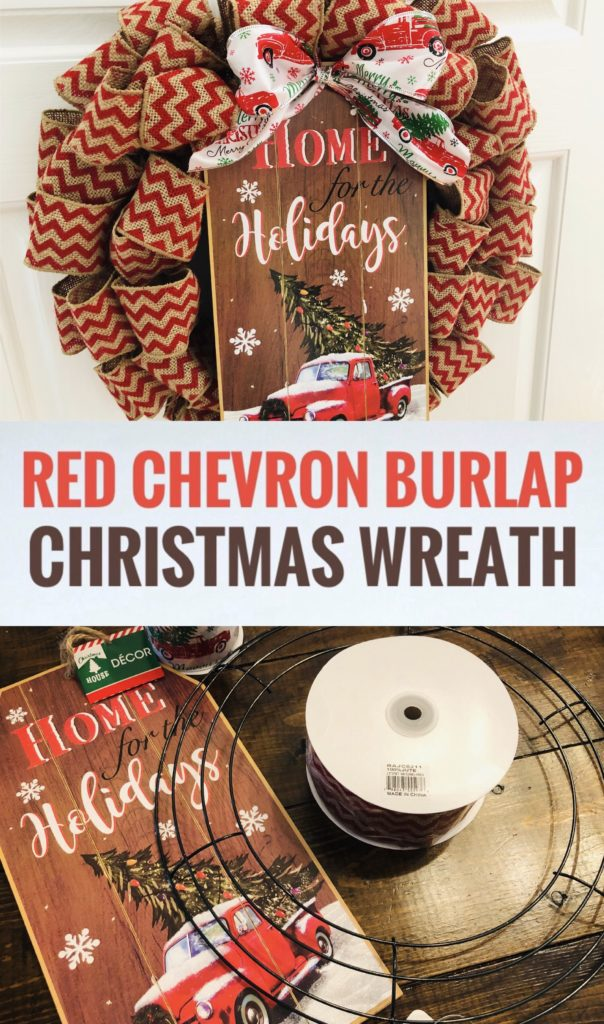 Chevron Burlap Ribbon Christmas Wreath with Dollar Tree Red Truck Sign
